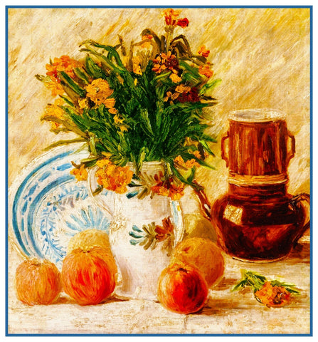 Flowers and Coffee Pot Still Life by Vincent Van Gogh Counted Cross Stitch Pattern