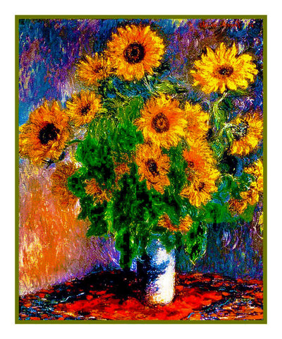 Sunflowers inspired by Claude Monet's impressionist painting Counted Cross Stitch or Counted Needlepoint Pattern