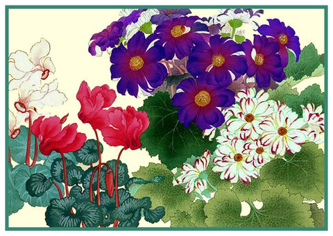 Tanigami Konan Asian Cyclamen and Cineraria Flowers Counted Cross Stitch or Counted Needlepoint Pattern