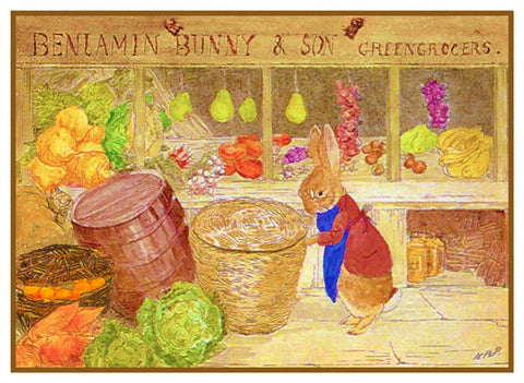 Benjamin Rabbit's Produce Store inspired by Beatrix Potter Counted Cross Stitch Pattern