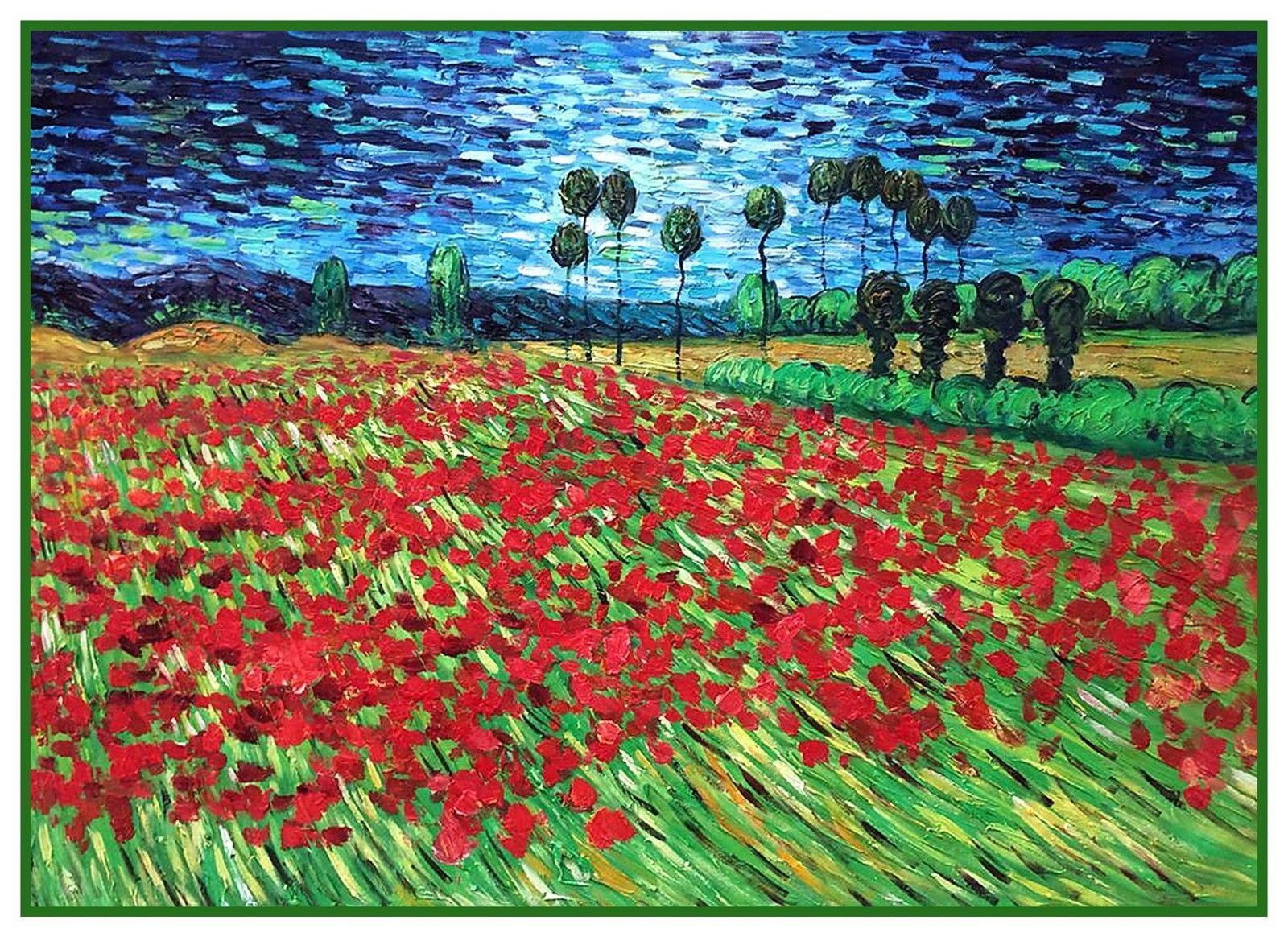 Field Of Poppy Flowers By Vincent Van Gogh Counted Cross Stitch Or