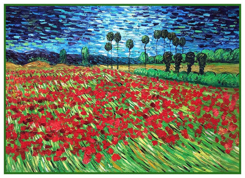 Field of Poppy Flowers by Vincent Van Gogh Counted Cross Stitch Pattern