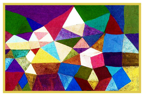 Crystaline Landscape by Expressionist Artist Paul Klee Counted Cross Stitch Pattern