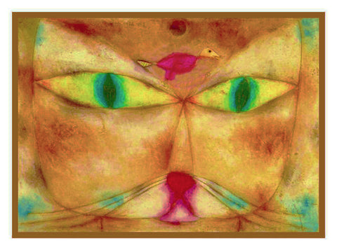 The Cat and the Bird by Expressionist Artist Paul Klee Counted Cross Stitch or Counted Needlepoint Pattern