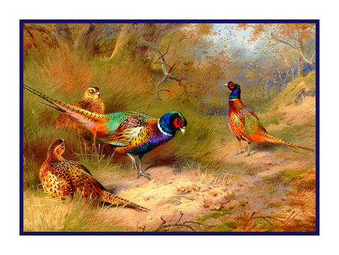 Ring Necked Pheasants by Naturalist Archibald Thorburn's Birds Counted Cross Stitch or Counted Needlepoint Pattern