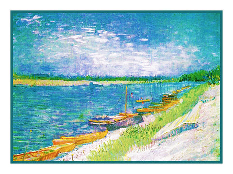View of the River with Rowing Boats inspired by Impressionist Vincent Van Gogh's Painting Counted Cross Stitch Pattern