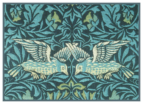 William Morris 2 Blue Birds Detail Counted Cross Stitch Pattern