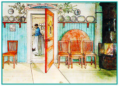 Anna in Kitchen inspired by Swedish Carl Larsson  Counted Cross Stitch Pattern