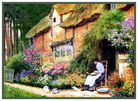 Girl Brick English Cottage Feed Birds by Strachan Counted Cross Stitch Pattern