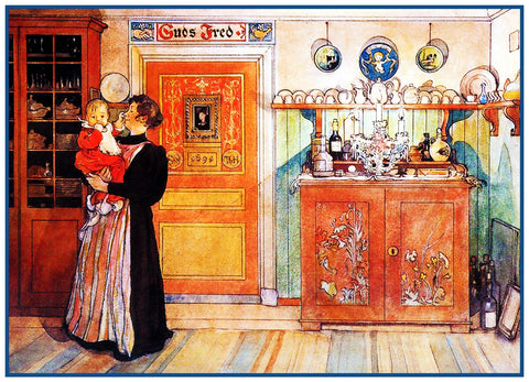 Mother and Daughter inspired  Swedish Carl Larsson  Counted Cross Stitch Pattern
