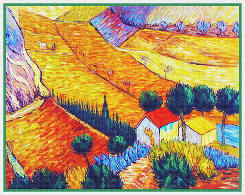 Farms in Arles France by Vincent Van Gogh Counted Cross Stitch Pattern