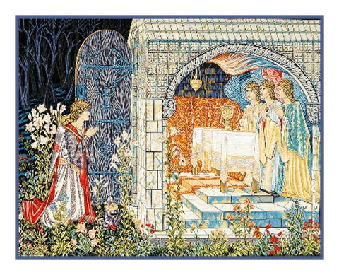 Quest Holy Grail Tapestries detail William Morris Counted Cross Stitch Pattern