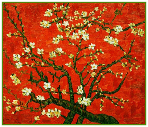 Almond Branches Red Background by Vincent Van Gogh Counted Cross Stitch or Counted Needlepoint Pattern