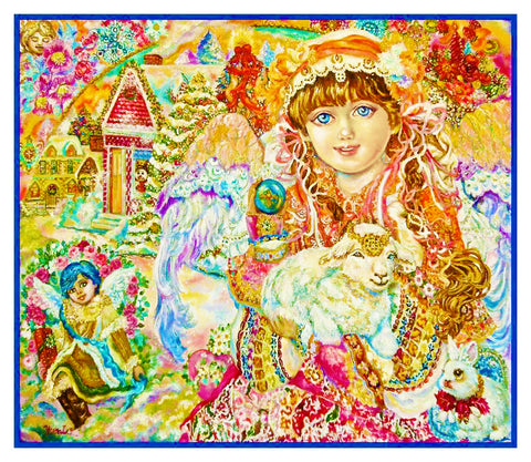 Angel with the Son of God and Lamb inspired by Yumi Sugai Counted Cross Stitch Pattern