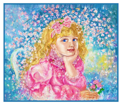 Angel of the Cherry Blossoms inspired by Yumi Sugai Counted Cross Stitch Pattern
