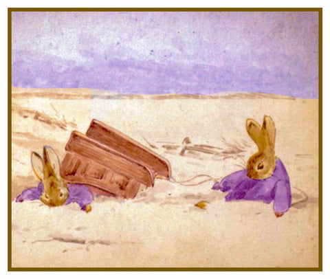 Bunnies Playing in the Snow inspired by Beatrix Potter Counted Cross Stitch or Counted Needlepoint Pattern