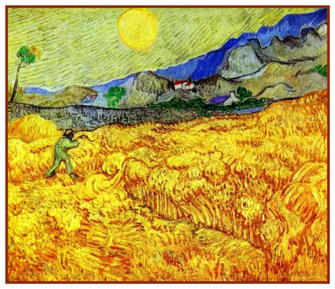 Farm Worker Reaping Wheat by Vincent Van Gogh Counted Cross Stitch Pattern