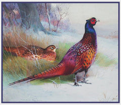 Old English Pheasants by Naturalist Archibald Thorburn's Bird Counted Cross Stitch Pattern