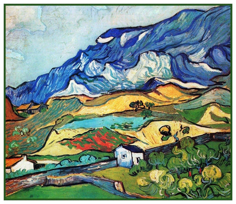 The Alps Mountains by Vincent Van Gogh Counted Cross Stitch or Counted Needlepoint Pattern