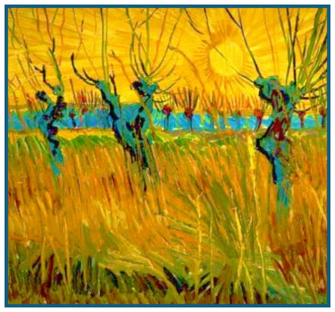Willow Trees at Sunset by Vincent Van Gogh Counted Cross Stitch Pattern