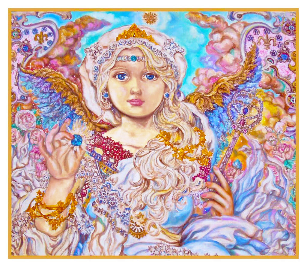 Angel of The Blue Crystal inpsired by Yumi Sugai Counted Cross Stitch or Counted Needlepoint Pattern