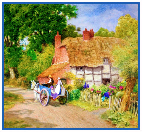 Horse and Cart at English Country Cottage Strachan Counted Cross Stitch Pattern