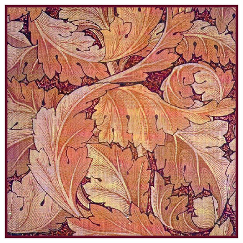 Acanthus Leaves In Reds by William Morris Counted Cross Stitch Pattern