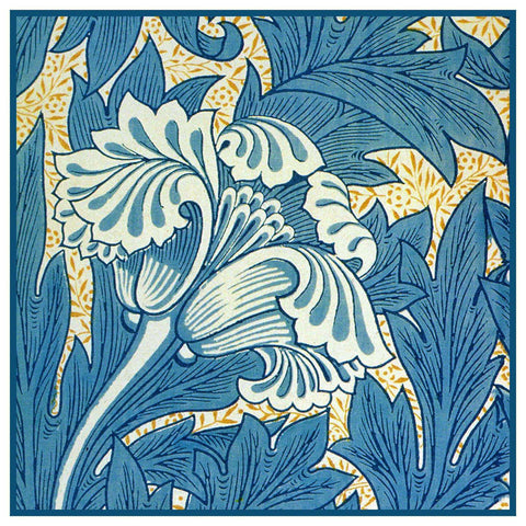 Acanthus Vine Tulip detail in Blues William Morris Counted Cross Stitch or Counted Needlepoint Pattern