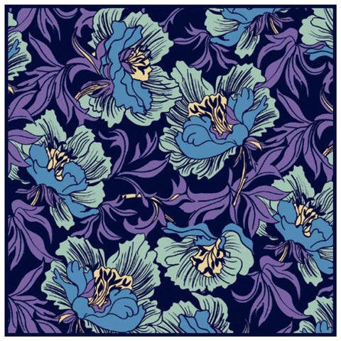 Acanthus Vines Purple Blue Blossoms by William Morris Counted Cross Stitch Pattern