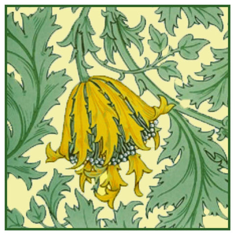 Anemone Flower detail Gold Greens by William Morris Counted Cross Stitch or Counted Needlepoint Pattern
