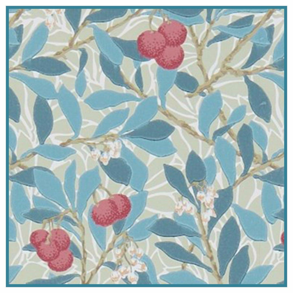 Arbutus Plant detail in Blues by William Morris Counted Cross Stitch or Counted Needlepoint Pattern