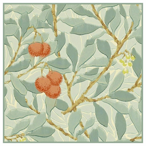 Arbutus Plant detail in Greens by William Morris Counted Cross Stitch Pattern