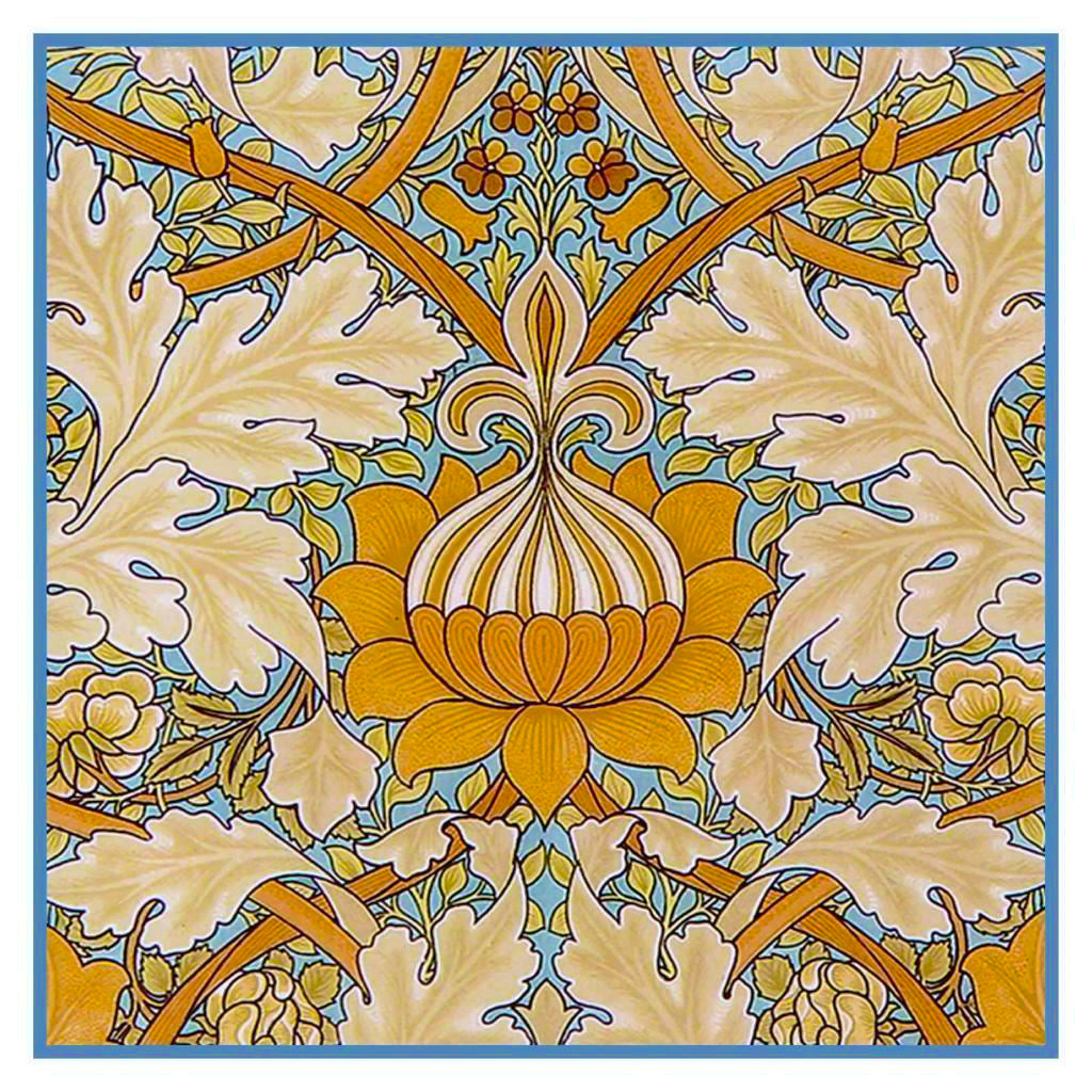 Art Nouveau Flower Design William Morris Counted Cross Stitch or Counted Needlepoint Pattern