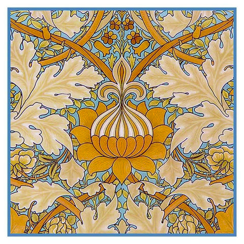 Art Nouveau Flower Design William Morris Counted Cross Stitch Pattern
