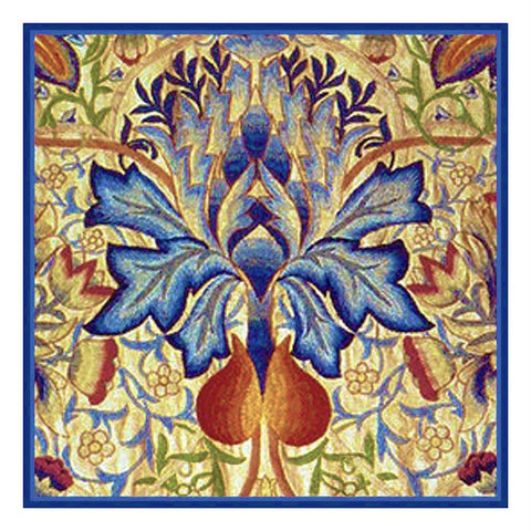 Blue Thistle design by William Morris Counted Cross Stitch Pattern