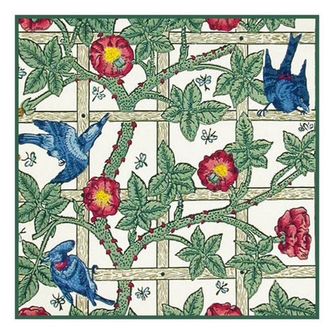 Arts & Crafts Style William Morris Trellis Design Counted Cross Stitch Pattern