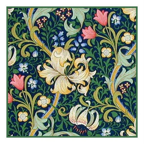 Golden Lily Design Navy Blue Background by William Morris Counted Cross Stitch Pattern DIGITAL DOWNLOAD