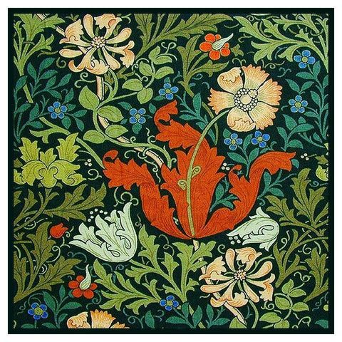 Arts and Crafts Compton -square by William Morris Design Counted Cross Stitch or Counted Needlepoint Pattern
