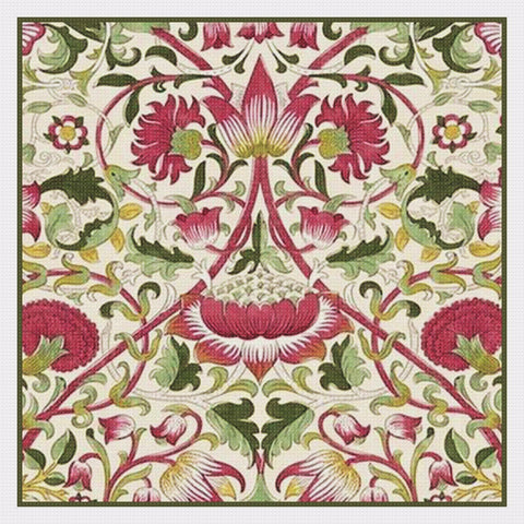 Arts and Crafts Loden Pink Green by William Morris Design Counted Cross Stitch Pattern DIGITAL DOWNLOAD