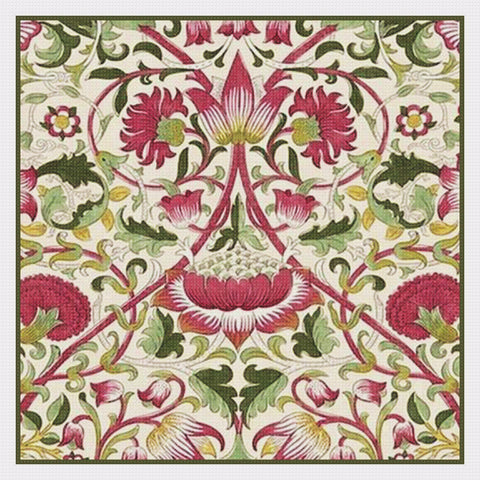Arts and Crafts Loden Pink Green by William Morris Design Counted Cross Stitch Pattern