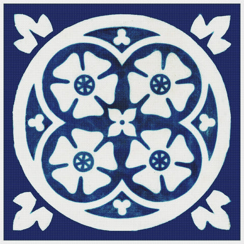 Arts and Crafts Geometric Flower Design in Blue and White Orenco Originals Counted Cross Stitch Pattern