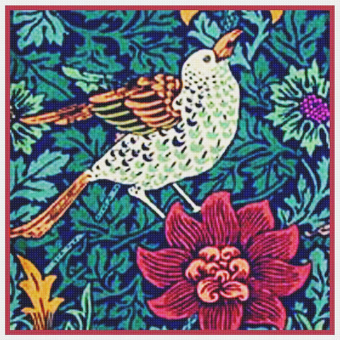 Bird Red Anemone Flower detail by William Morris Design Counted Cross Stitch Pattern