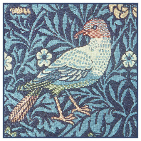 Blue Bird Detail Arts and Crafts William Morris Design Counted Cross Stitch Pattern
