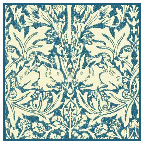 Brother Rabbits Hares in Blues by William Morris Design Counted Cross Stitch Pattern
