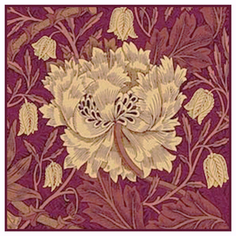 Burgundy Marigold detail by William Morris Design Counted Cross Stitch Pattern