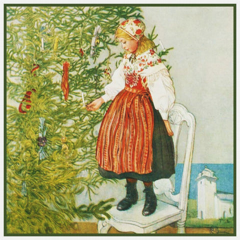 Christmas Confetti by Swedish Artist Carl Larsson Counted Cross Stitch Pattern DIGITAL DOWNLOAD
