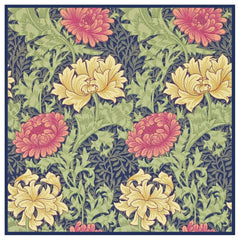 Chrysanthemum detail Blue Pink William Morris Design Counted Cross Stitch or Counted Needlepoint Pattern