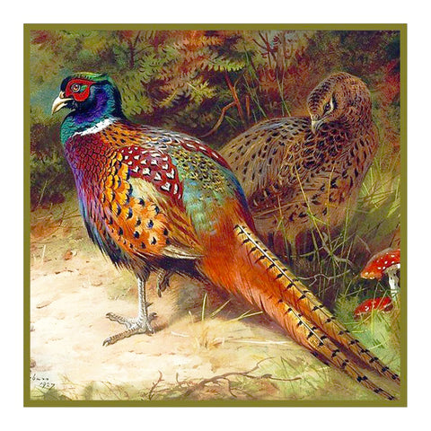 Common Pheasant Detail by Naturalist Archibald Thorburn's Bird Counted Cross Stitch Pattern