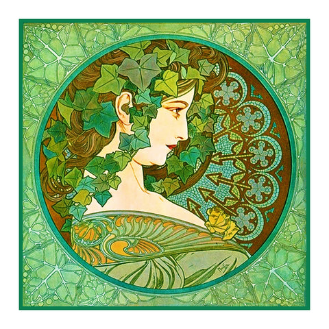 Ivy Detail by Alphonse Mucha Counted Cross Stitch Pattern