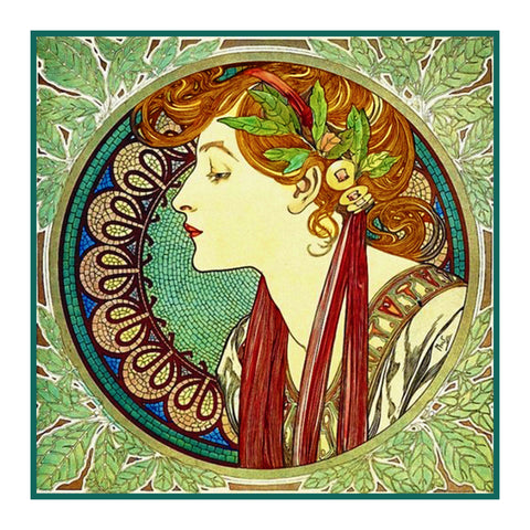 Laurel detail by Alphonse Mucha Counted Cross Stitch Pattern